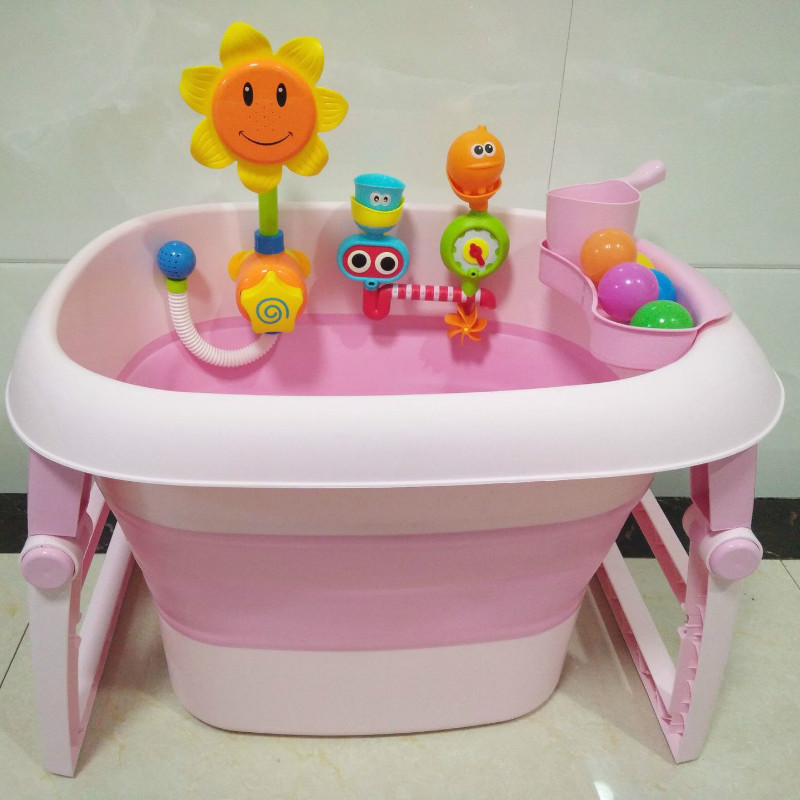Newborn Baby Folding Bathtub Large Capacity Bathtub Bath Storage Portable Children Bath Toys Swimming Pool