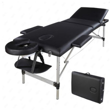 Black/Red with Black Edge Color 3 Sections Folding Aluminum Tube SPA Bodybuilding Massage Table Kit Beauty Bed for Salon Furnitu