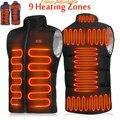 Жилет с электроподогревом для мужчин и женщин, спортивная одежда с 9 зонами, графеновое теплое пальто, куртка с USB-подогревом для кемпинга