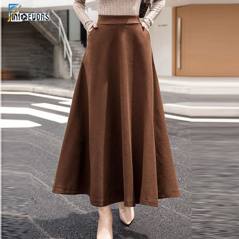 A Line Winter Skirts Women Hot Warm Design Elegant Lady Office Long Skirt Plaid Printed Elastic High Waist Skirts Woolen S09