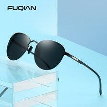 Мужские и женские очки без оправы fuqian круглые поляризационные