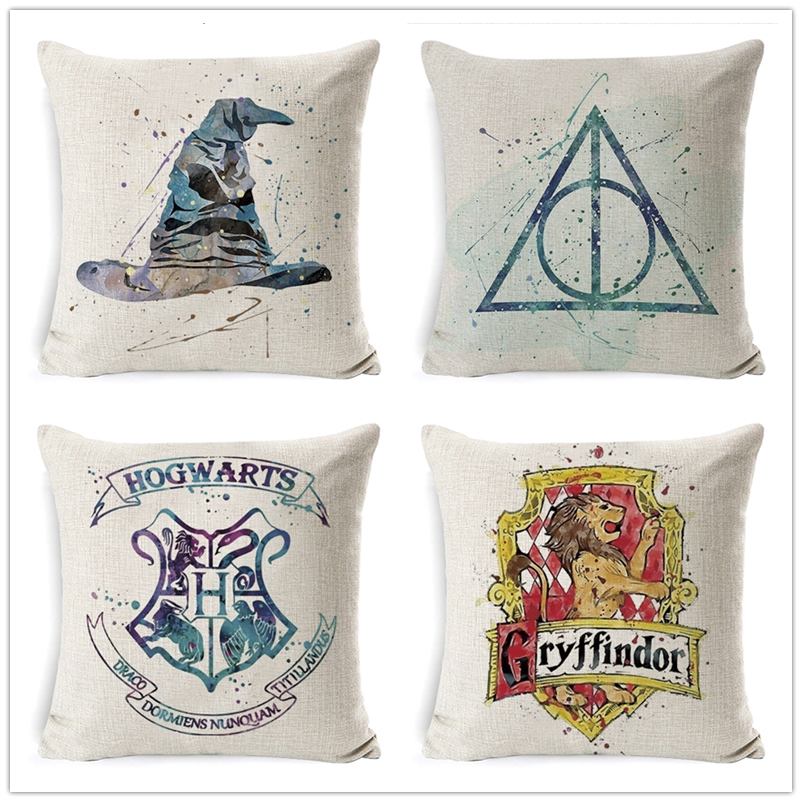 Cartoon Characters Decorative Cotton Linen Cushion Cover 45x45cmHome Decor Sofa Chair Soft Harry-Potter Pillowcase Cover