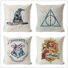 Funda de cojín decorativo de lino y algodón con personajes de dibujos animados 45x45cmHome Decor Sofa Chair Soft Harry Potter funda de almohada