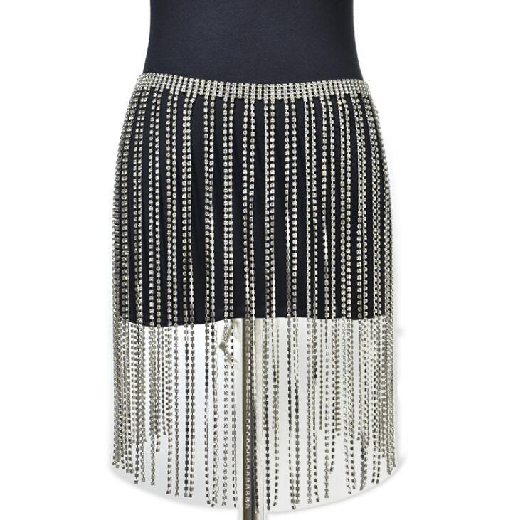Women's Runway Fashion Diamonds Tassel Chain Cummerbunds Female Dress Corsets Waistband Belts Decoration Wide Belt R2526