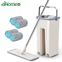 Magic Quickly Cleaning Mops with Bucket Floors Squeeze Flat Mop Home Kitchen Floor Cleaner House Cleaning Tools|Mops| |  -