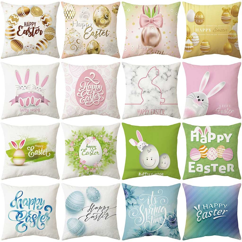 Pillow Case Easter Rabbit Egg Print Pillow Cases Polyester Pillowslip Seat Sofa Car Cushion Cover Home Decor Easter Decoration