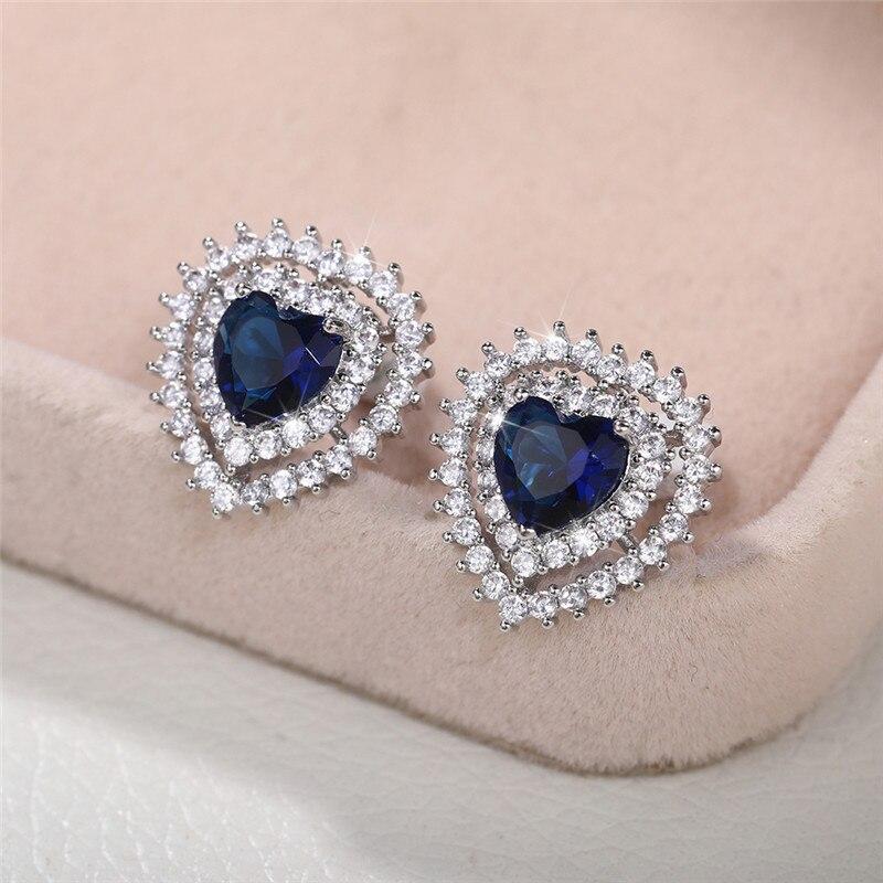Huitan Fashion Luxury Love Stud Earrings for Women Colorful/Blue Heart Cubic Zirconia Wedding Trends Eternity Earrings Girl Gift