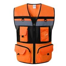 في الهواء الطلق متعددة جيوب الأمن المرور ملابس العمل سترة عاكسة وضوح عالية تحذير سلامة سترة ملابس الفلورسنت