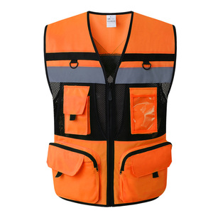 Image 1 - Outdoor Multi pockets Security Traffic Work Clothes Reflective Vest High Visibility Warning Safety Vest Fluorescent Clothing