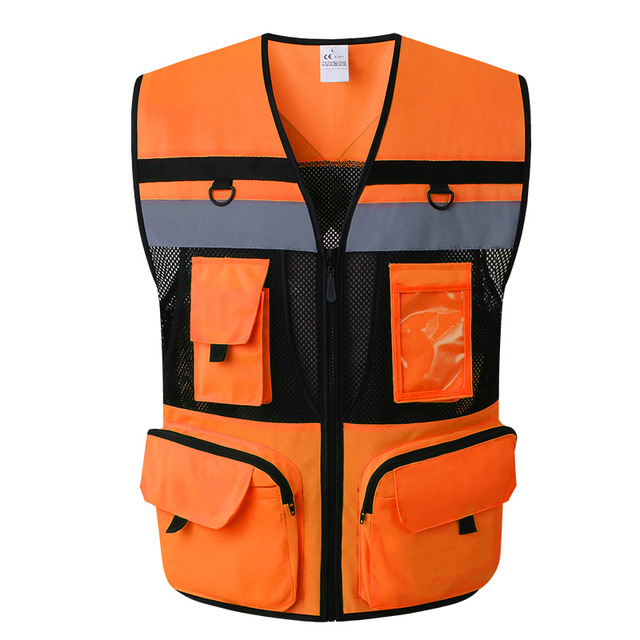 Outdoor Multi pockets Security Traffic Work Clothes Reflective Vest High Visibility Warning Safety Vest Fluorescent Clothing