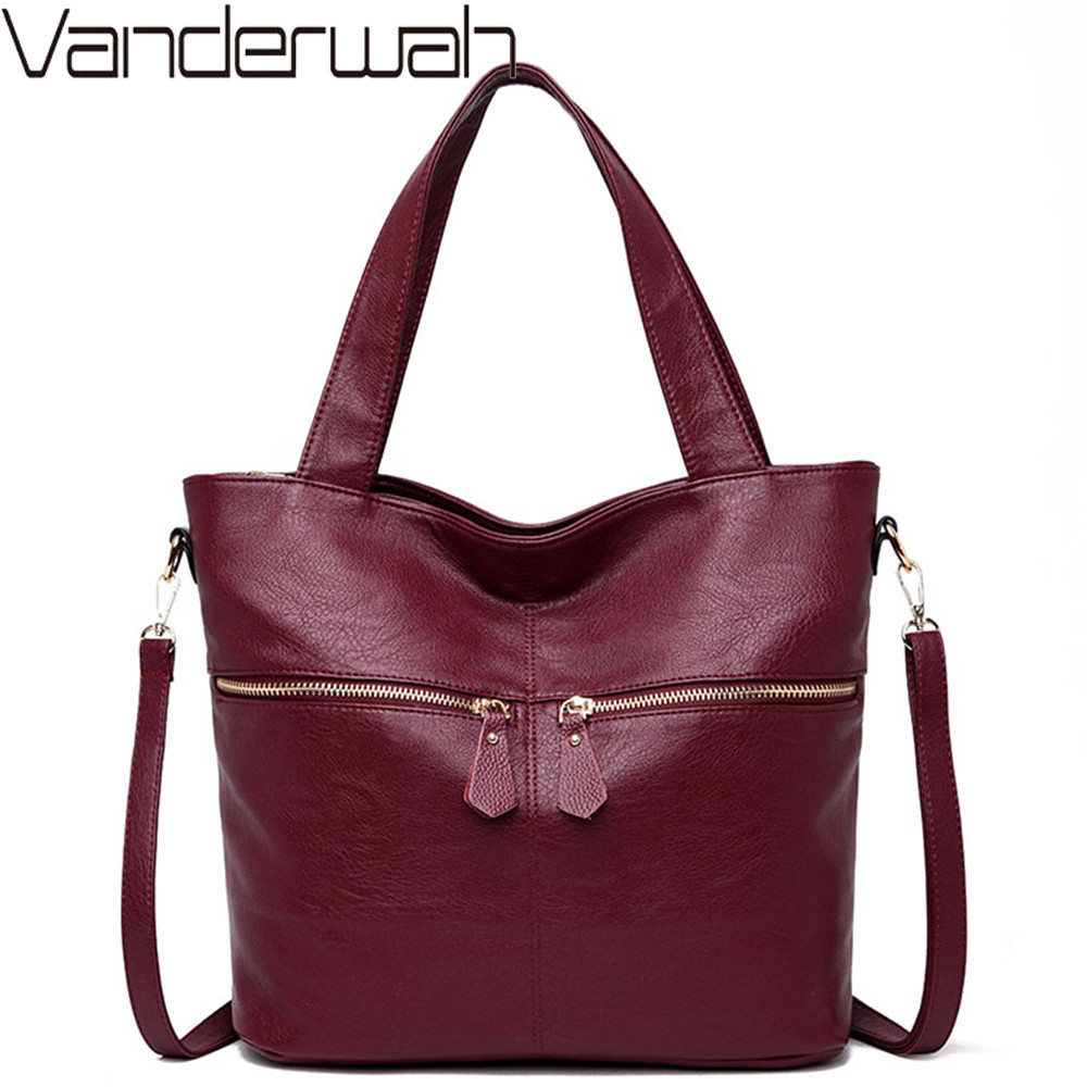 High Quality Totes Bag Soft Leather Women Handbags Female Shoulder Message Bag Feminine Top-Handle Bags Casual Shopping Bags Sac