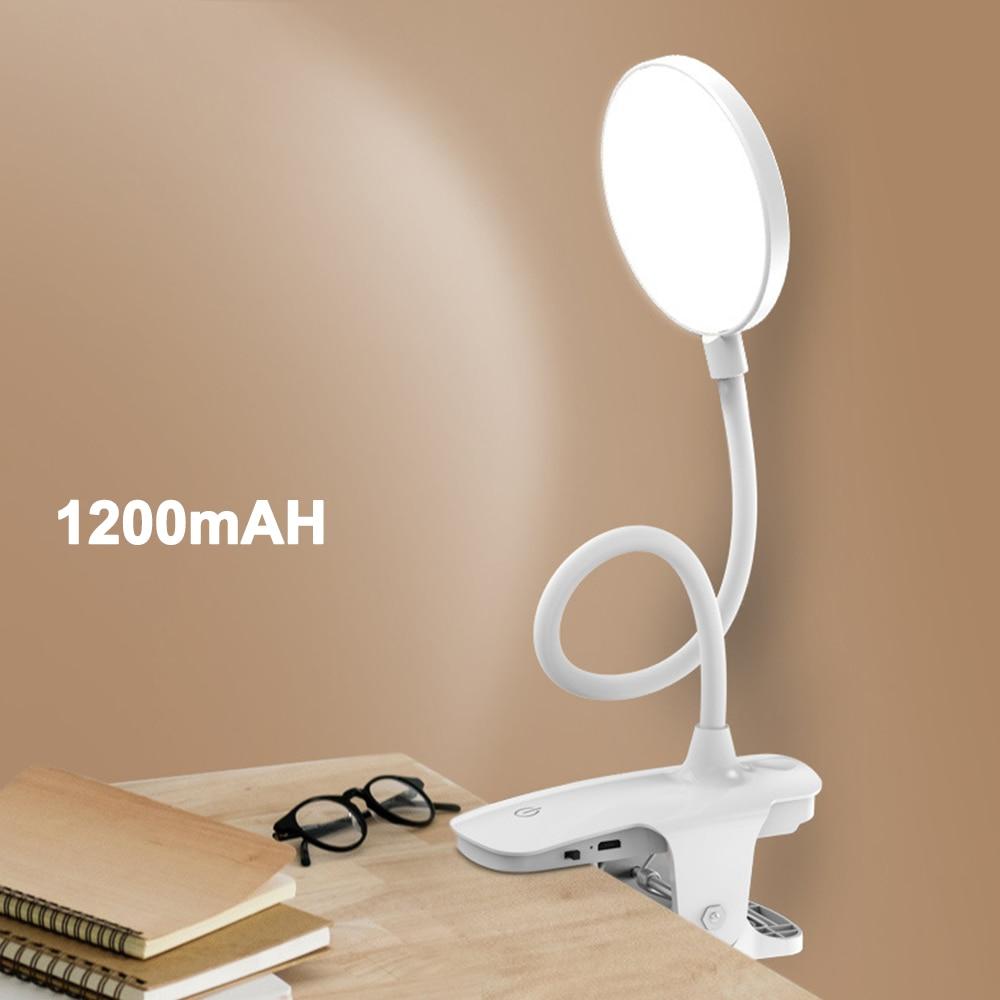 Clip Drahtlose Tisch Lampe Studie Touch 1200 mah LED Lesen Schreibtisch Lampe USB Tisch Licht Flexo Lampen Tisch