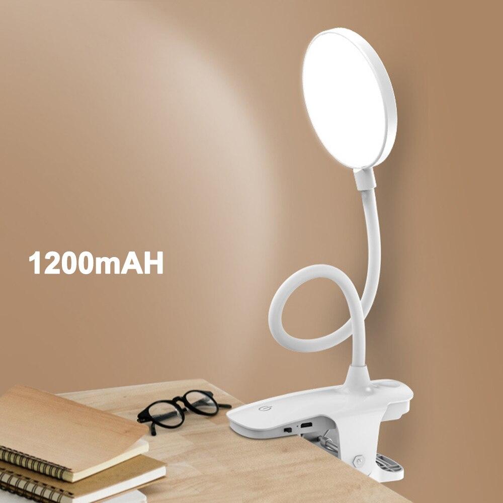 Clip lámpara inalámbrica para mesa estudio táctil 1200mAh recargable LED lectura escritorio Lámpara USB mesa Luz Flexo lámparas Mesa