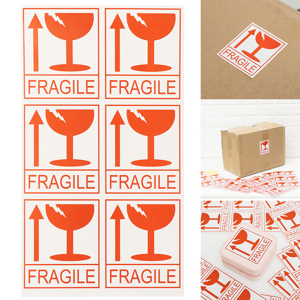 60pcs/lot Fragile Warning Label Sticker Logistics Accessories Hazard Warning Sign Handle With Care Keep Express Label Adhesive