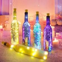 Новинка винная бутылка, светодиодный светильник, струны для наружного освещения, медный провод, огни для свадьбы, праздника, Рождества, Нового года, вечерние, Декор