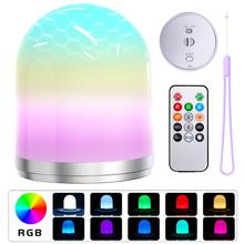 Smart LED night lamp, USB rechargeable, RGB, bedroom decorative table lamp, dimmable gift for babies and kids with remote