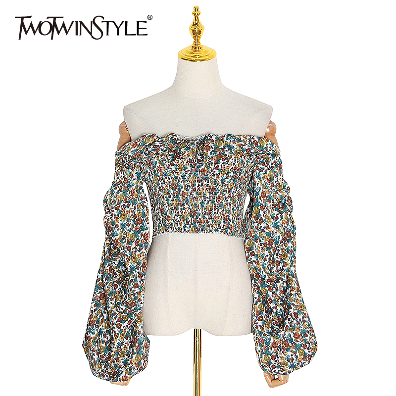 TWOTWINSTYLE Vintage Print Women's Shirt Off Shoulder Slash Neck Lantern Long Sleeve Ruffle Shirts Blouse Female 2020 Summer New