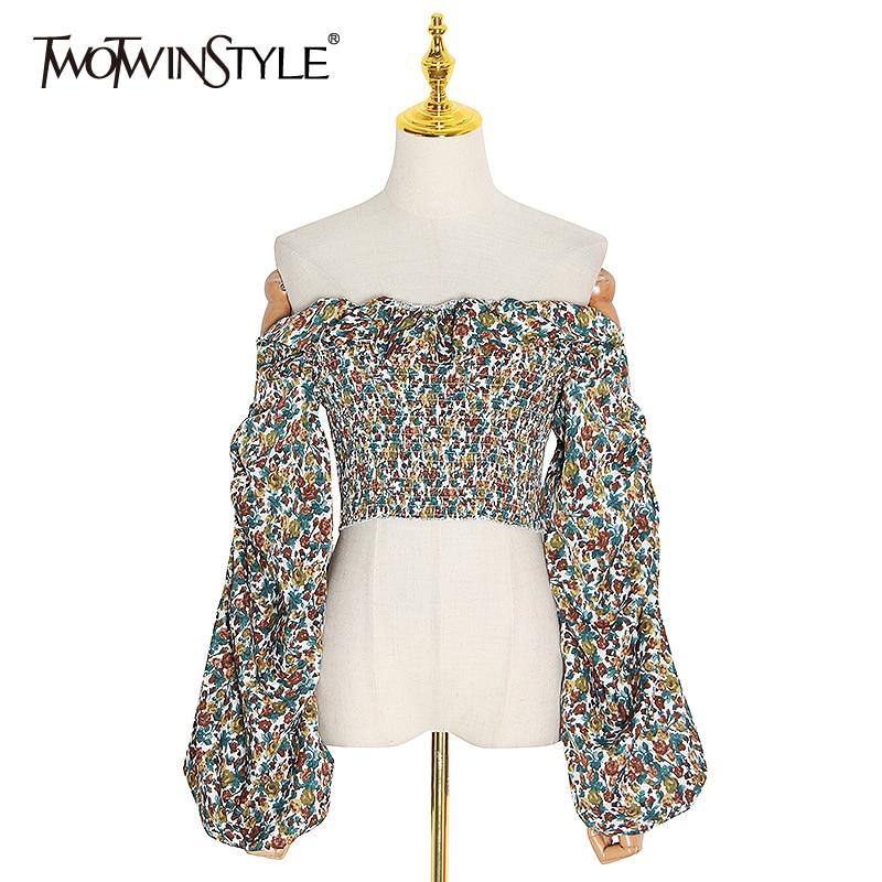 TWOTWINSTYLE Vintage Print Women's Shirt Off Shoulder Slash Neck Lantern Long Sleeve Ruffle Shirts Blouse Female 2020 Summer New