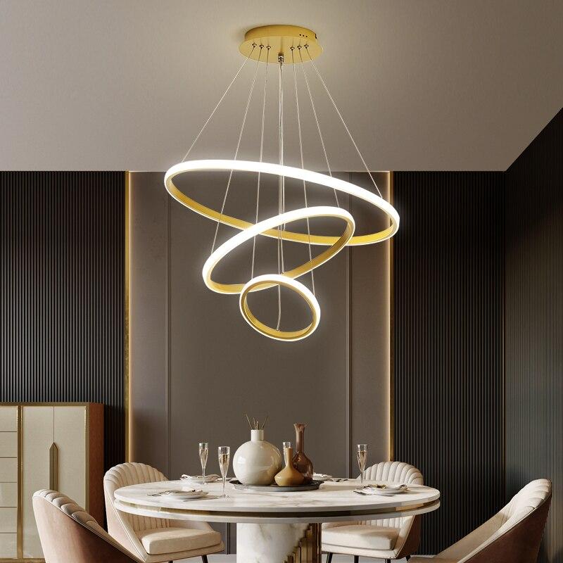Modern chandelier ring led ceiling circle black chandelier attic living room dining room kitchen interior lighting