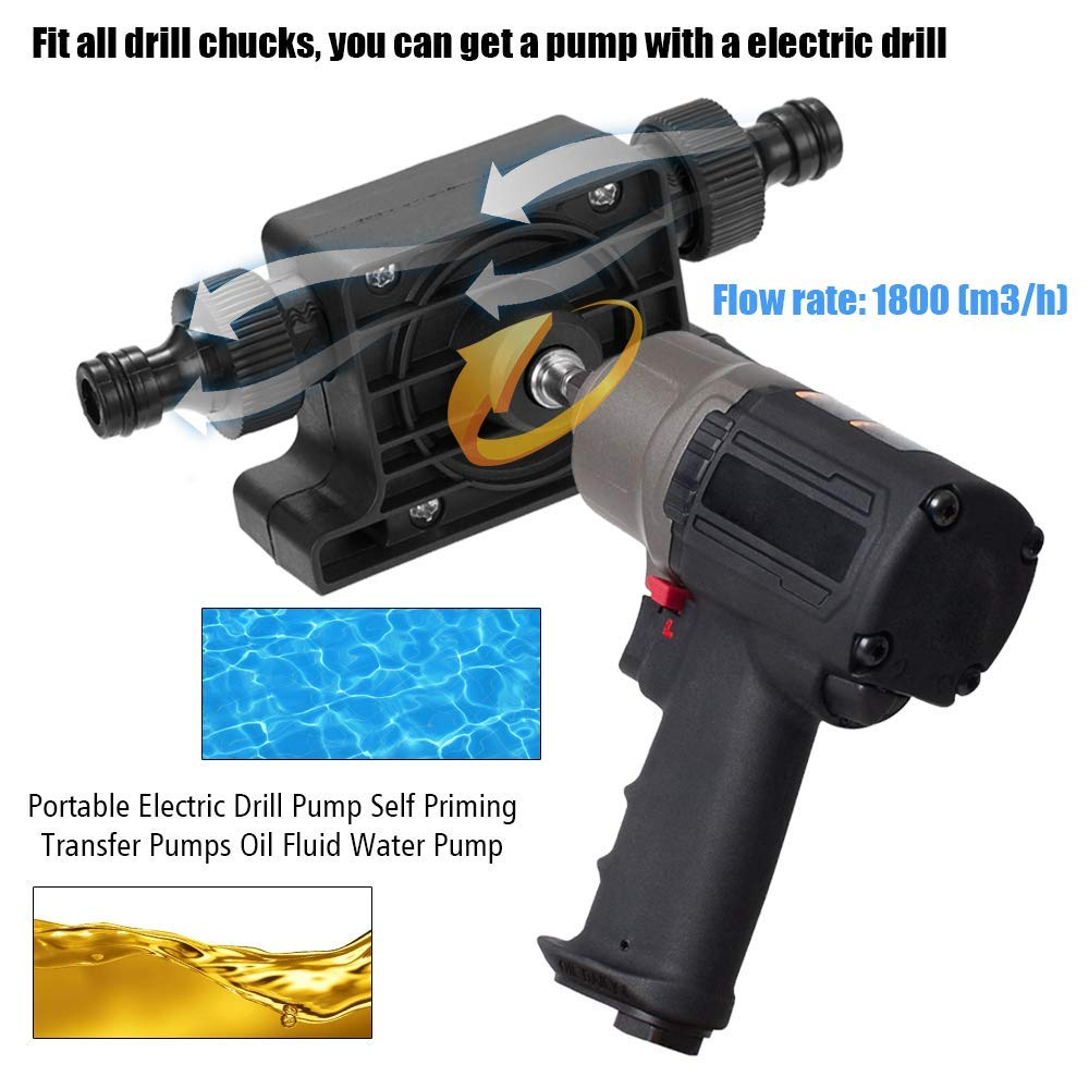 Electric Drill Drive Pump Oil Water Mini Self Priming Transfer Pump Portable Corrosion Resistant PUO88