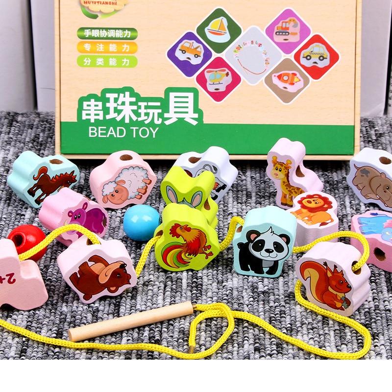 Wooden Early Education Toys Handwork Threading Beaded Toys Marine Animal Traffic Digital Stringing Beaded Toys DIY For Kids