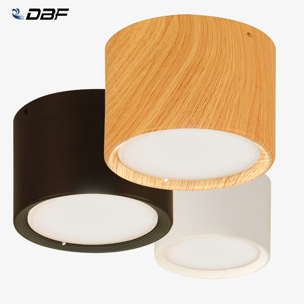 DBF High Bright Ceiling Spot Lights 5W 12W Nordic Wood Surface Mounted Ceiling Spot Light for Ailse Bar Kitchen Indoor Lighting