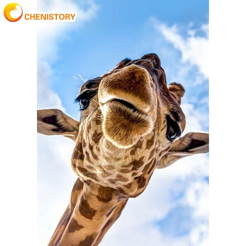 Chenistory 60x75 см Жираф картина маслом по номерам для взрослых