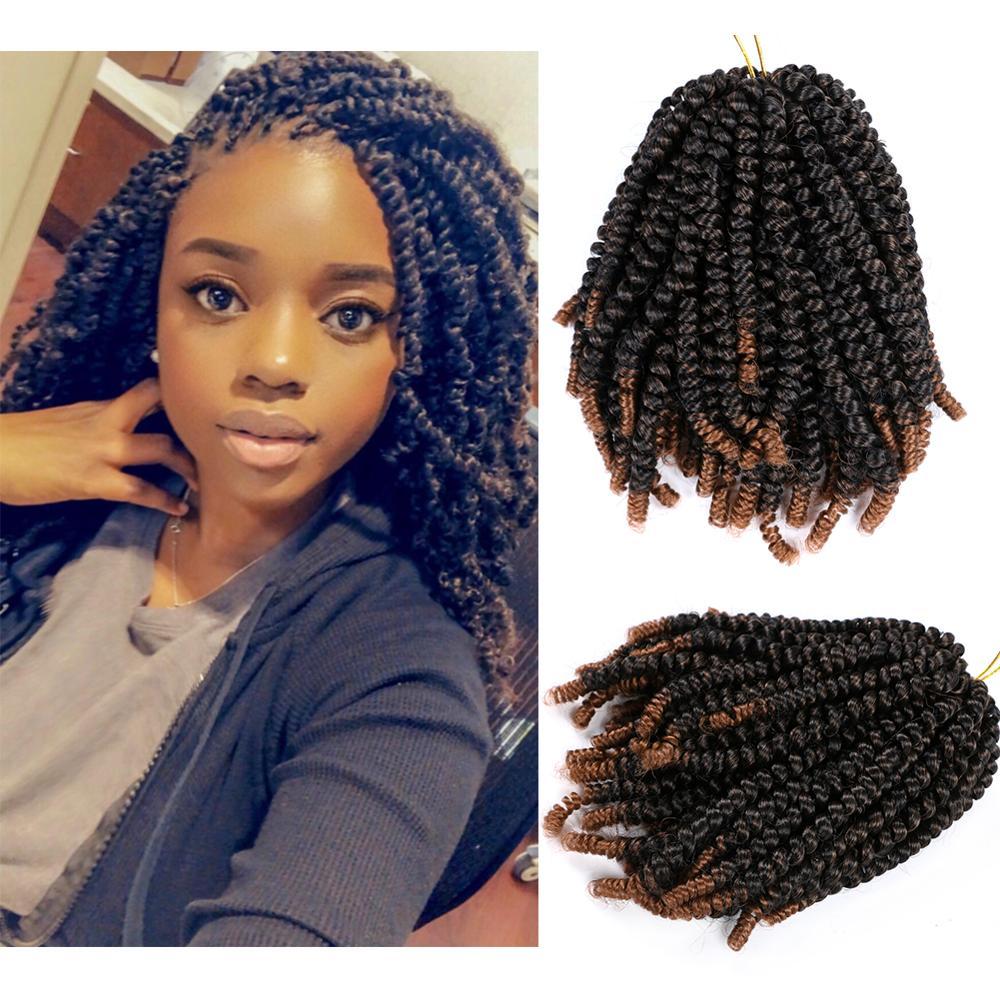 Пушистые весенние вкрученные вязанные волосы 8 дюймов страсть вкручиваемые волосы вязанные косички синтетические Омбре плетенные волосы ч...