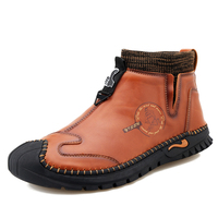2021 Men Ankle Boots Leather Cowhide Outdoor Business Casual Comfortable Fashion Young Moccasins Handmade Non-slip Size38-48 1