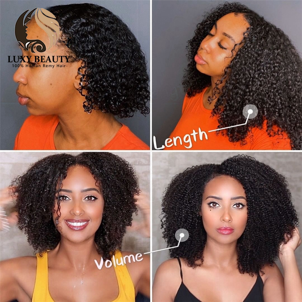 Luxy beauty  Afro Kinky Curly human hair clip in extensions 8 Pieces And 120g/Set Natural Color Remy Hair clips afro human hair