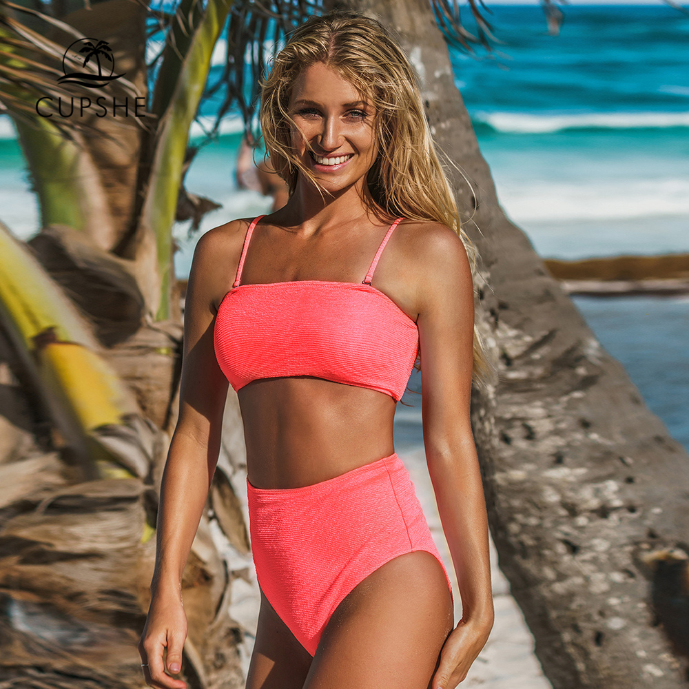 CUPSHE Sexy Neon Pink High-Waisted Bikini Sets Women Bandeau Two Pieces Swimsuits 2019 Girl Beach Bathing Suits