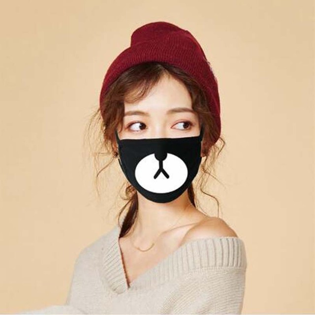 3Pcs/Set Cotton Dust Mask Cartoon Expression Teeth Muffle Chanyeol Face Respirator Anti Kpop Bear Mouth Mask 2