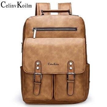 Celinv Koilm Brand Anti theft Leather Women Backpack Laptop Travel Backpack Men Waterproof School Backpack bag for Teenager girl