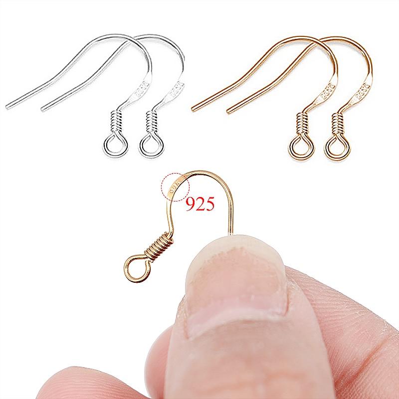 100pcs/lot Carven 925 Silver Copper Earrings Clasps Hooks Fittings DIY Jewelry Making Accessories Iron Hook Earwire Jewelry