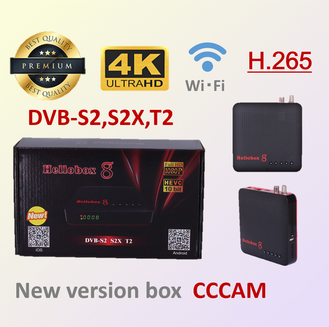 Hellobox 8 Satellite TV Receiver DVB-T2 /S2/S2X TV Tuner Support Play On Phone Mobile Satellite TV Receiver Support Spain Ccam