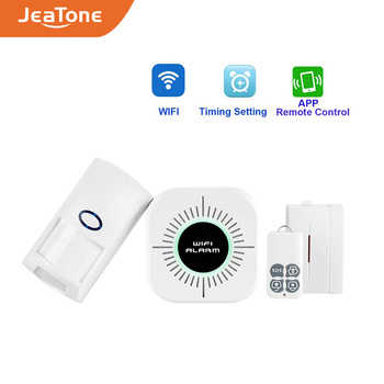 цена на WIFI Home Burglar Security Alarm Smart Wireless Alarm System Kits APP Control Android IOS PIR Sensor Door Window Detector Alarm