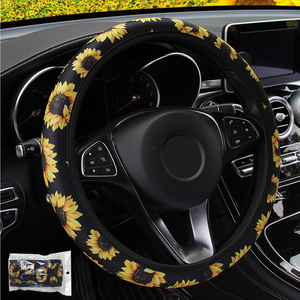 Car Steering Wheel Cover Knitted Fabric Sunflower Floral Print Steering Covers Auto Non Slip Stretchy Neoprene Car Styling