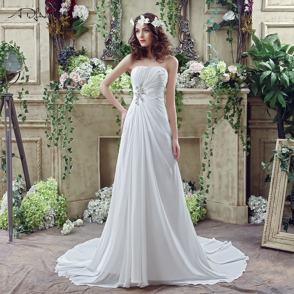 ADLN Cheap Summer Wedding Dress Strapless Sleeveless Pleats Beading Chiffon Boho Wedding Dresses Bridal Gown Plus Size