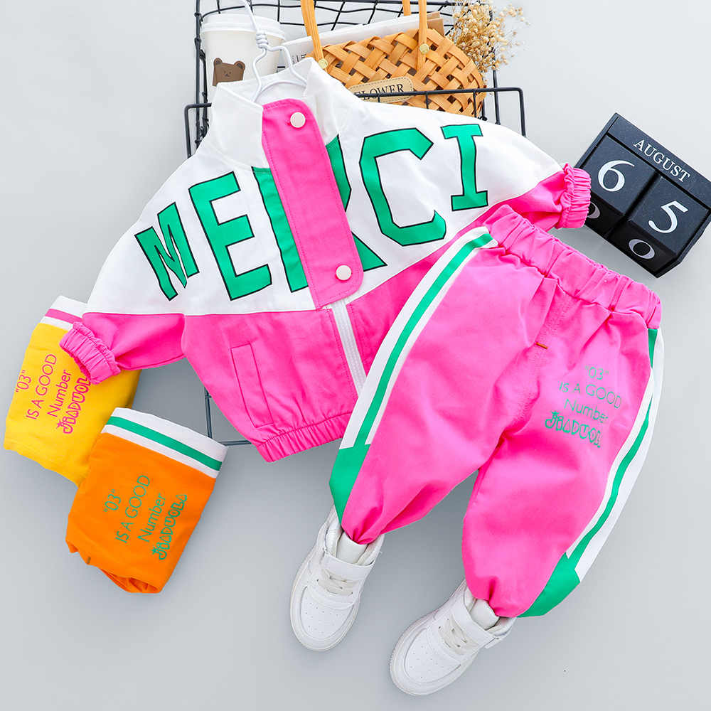 2020 Autumn Kid Boy Girl Clothing New Casual Tracksuit Long Sleeve Letter Zipper Sets Infant Clothes Baby Pants 1 2 3 4 Years