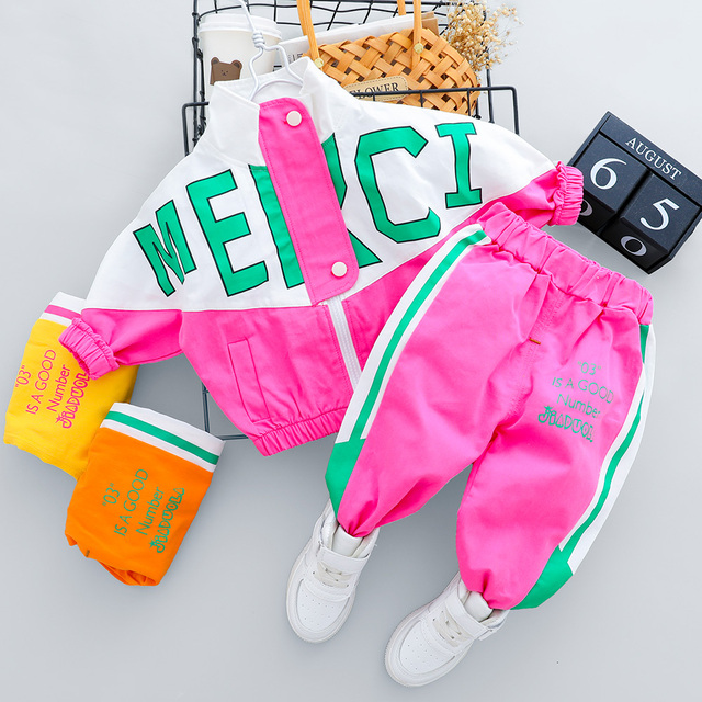 2021 Autumn Kid Boy Girl Clothing New Casual Tracksuit Long Sleeve Letter Zipper Sets Infant Clothes Baby Pants 1 2 3 4 Years