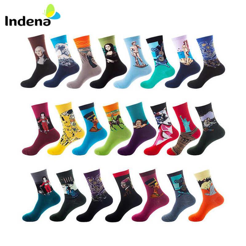 1Pair Novelty Men//Women Colored Socks Cotton Socks Art Jacquard Soft Long Socks