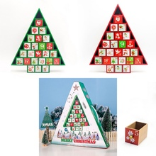 Christmas Gift Ornament Toy Table Wooden Decor Calendar 24 Drawers Countdown Tree Shape Storage Box