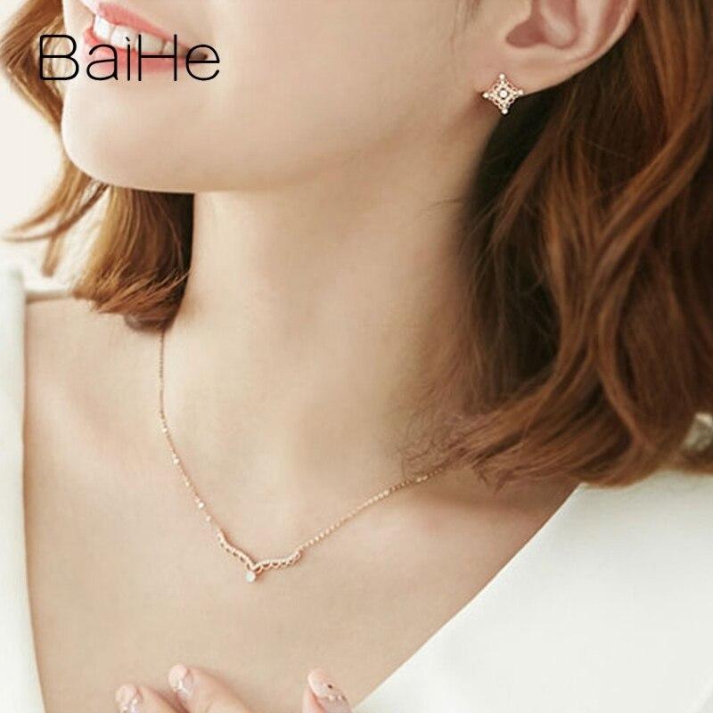 BAIHE solide 18K Rose/blanc/or jaune certifié H/SI 0.20ct + 0.15ct diamants naturels femmes bijoux fins colliers cadeaux de mariage - 6