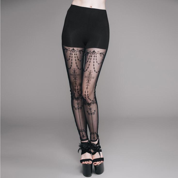 Eva Lady Women's Lacey Goth Punk Leggings EPT003