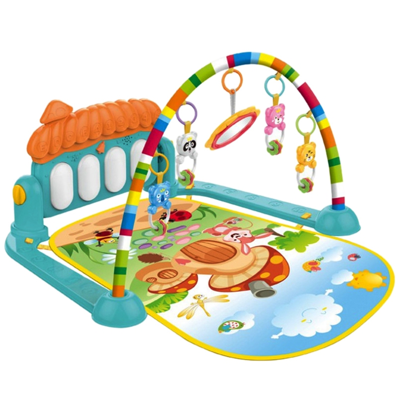 Baby Play Mat Baby Gym Toys Gaming Carpet 0-12 Months Soft Lighting Rattles Music Mat Infant Crawling Activity Mat Toys Green