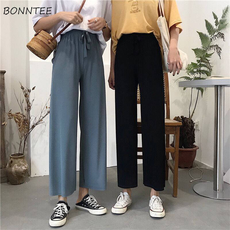 Wide Leg Pants Women Trendy Solid Ulzzang Summer Thin Comfortable Stylish Casual Ankle-length Female Capris Plus Size New 2020