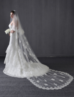 Long Cathedral Wedding Bridal Veils Lace Edge Cathedral Cathedral Beading Pearl Lace Wedding Veils White ivory Two Tiers