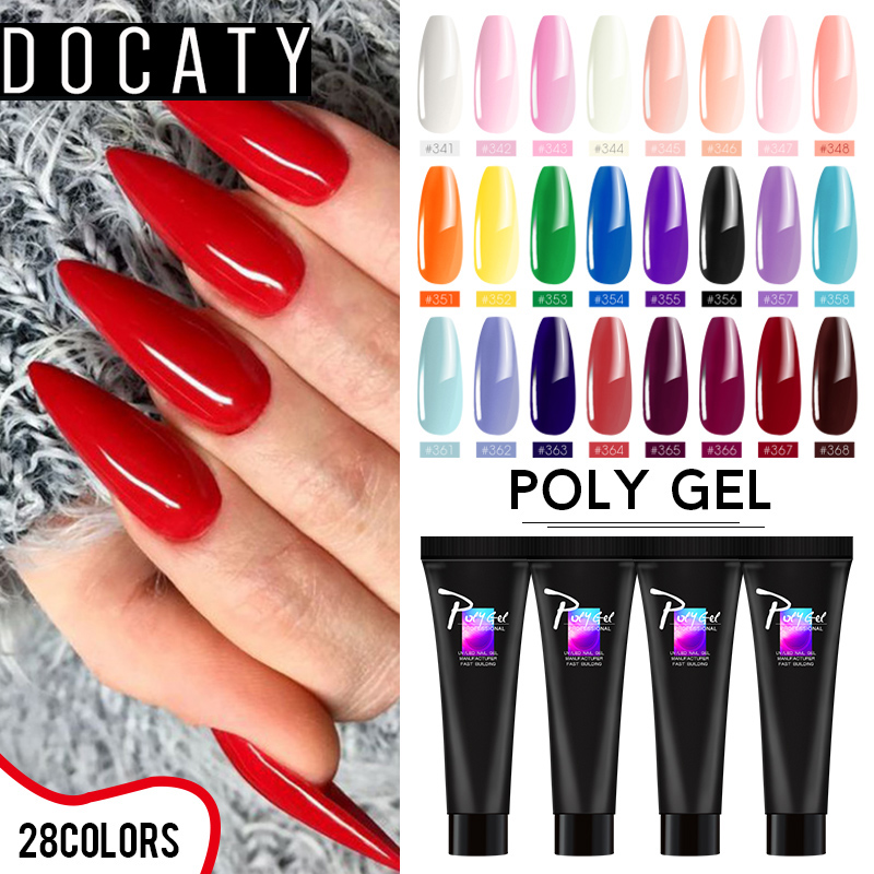 Docaty UV LED Nail Builder Poly Gel Clear Nude Extention Poly Gel DIY Nails Poly Gel Builder Nail Art Pink Extension Nail Primer