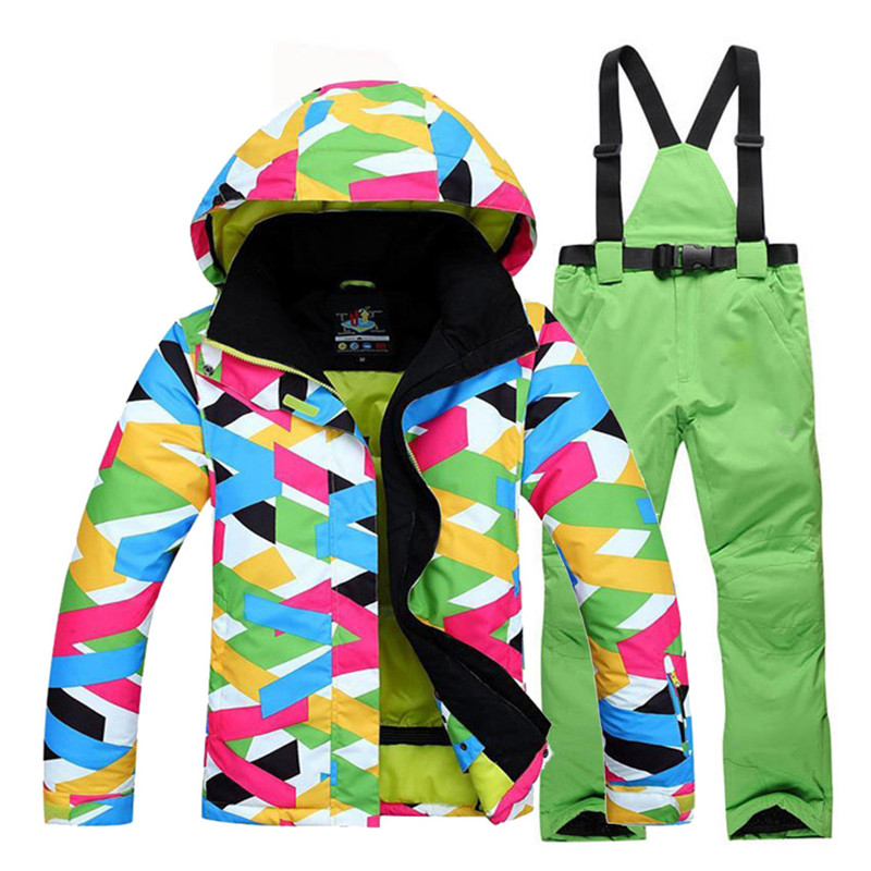 Female Cheap Colorful Snow Suit Wear Women's Snowboard Clothing Winter Waterproof Costumes Outdoor Ski Jacket + Bibs Snow Pants