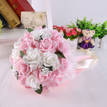 ורוד אדום לבן סגול חתונה זר פרחי כלה שושבינה פרח זר מלאכותי PE פרח רוז כלה זר פרחים